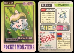 Carddass Pokémon Parte 3 File No.001 Bulbasaur Parassiseme Pocket Monsters Bandai (1997).png