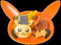 Piatto Ricco Halloween di Pikachu (Pokémon Café Tokyo DX Menù Autunnale 2018).png