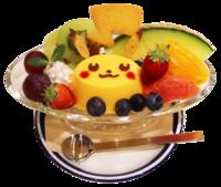 Pikachu Budino alla moda e vari frutti (Pokémon Café Tokyo DX).png