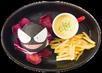 Hamburger alla menta piperita di Gastly (Pokémon Café Tokyo DX Menù Autunnale 2018).png