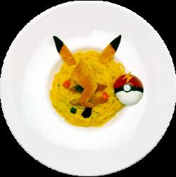 Pikachu hai deciso il Kimi! Guarda qui! Pasta alla Zucca (CoroCoro Comic Legend Café 40th Anniversary).png
