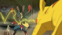 Shara Gym Battle! Pikachu VS Mega Lucario!