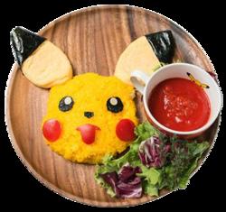 Pikachu il mio Riso ti farà Sorridere e Omuraisu (Salsa Magmatica o Salsa d'Acqua) (Pokémon Café Omega Ruby and Alpha Sapphire).png