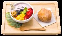 Macedonia di Frutta di Ditto e Malasada (Pokémon Café Tokyo DX Menù Estivo).png