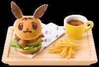 Eevee Hamburger di pollo con salsa di Teriyaki (Pokémon Café Tokyo DX).png