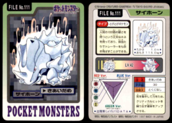 Carddass Pokémon Parte 3 File No.111 Rhyhorn Focalenergia Pocket Monsters Bandai (1997).png