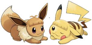 Artwork Pikachu Eevee acconciature LGPE.png